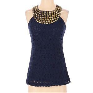 Trina Turk Navy Embellished Crochet Halter…